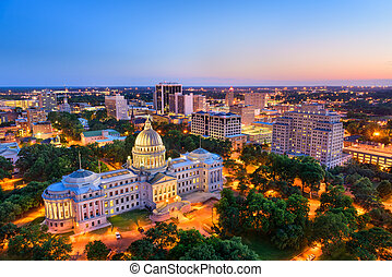 Jackson Mississippi Skyline - Jackson, Mississippi, USA...