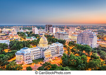 Jackson, Mississippi, USA cityscape at dusk.