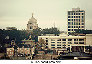 Jackson, Mississippi - vintage panorama. State Capitol Building on the left.