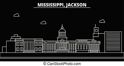 Jackson silhouette skyline. USA - Jackson vector city, american linear architecture, buildings. Jackson travel illustration, outline landmarks. USA flat icon, american line banner