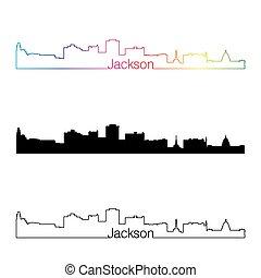 Jackson skyline linear style with rainbow in editable vector file