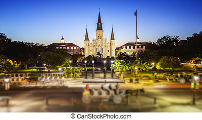 Jackson Square in New Orleans, Louisiana French Quarter at...