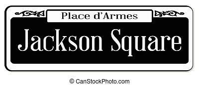 New Orleons street sign of Place d'Armes over a white background