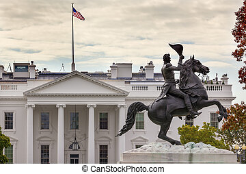 Jackson Statue Lafayette Park White House Autumn...