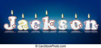 JACKSON written with burning candles - vector illustration