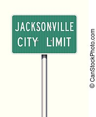 Vector illustration of the Jacksonville City Limit green road sign