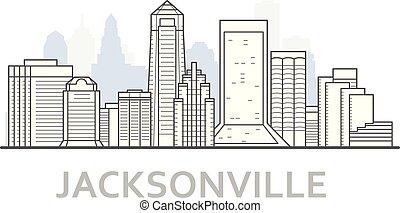 Jacksonville city skyline, Florida - outline of downtown of Jacksonville, cityscape