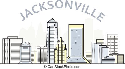 Jacksonville cityscape, Florida - city panorama of Jacksonville, skyline of downtown