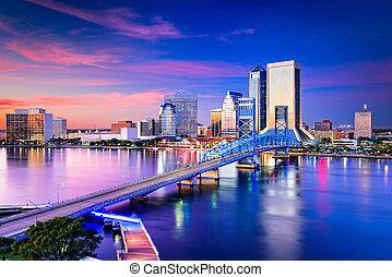 Jacksonville Florida Skyline - Jacksonville, Florida, USA...
