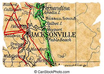 Jacksonville, Florida on an old torn map from 1949, isolated. Part of the old map series.