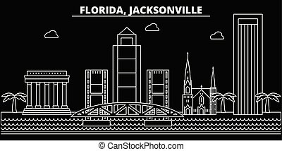 Jacksonville silhouette skyline. USA - Jacksonville vector city, american linear architecture, buildings. Jacksonville travel illustration, outline landmarks. USA flat icon, american line banner