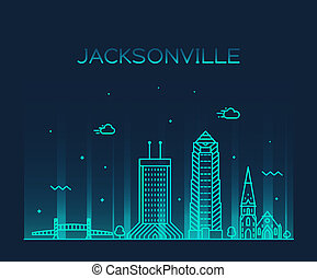 Jacksonville skyline, Florida USA vector line city