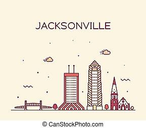 Jacksonville skyline, Florida USA vector line city