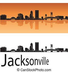 Jacksonville skyline in orange background in editable vector...