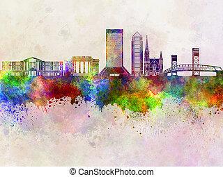Jacksonville skyline in watercolor