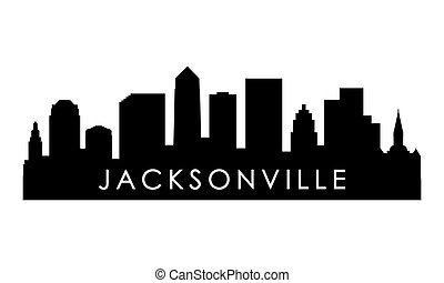Jacksonville skyline silhouette. Black Jacksonville city design isolated on white background.