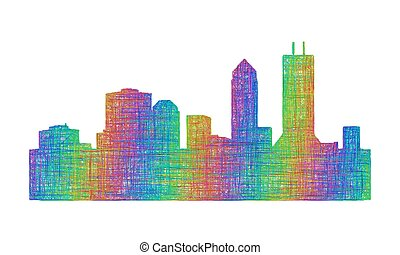 Jacksonville city skyline silhouette - multicolor line art