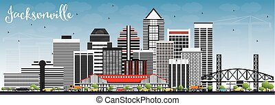 Jacksonville Skyline with Gray Buildings and Blue Sky.