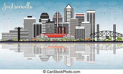 Jacksonville Skyline with Gray Buildings, Blue Sky and Reflections.
