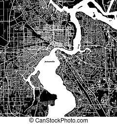 Jacksonville Vector Map, Artprint. Black Landmass, White Water and Roads.