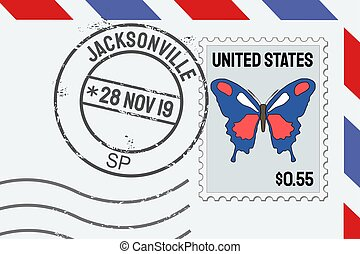 Jacksonville vector postage stamp - American post stamp on a letter.