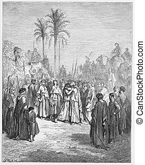 Jacob and Esau meet again - Picture from The Holy...