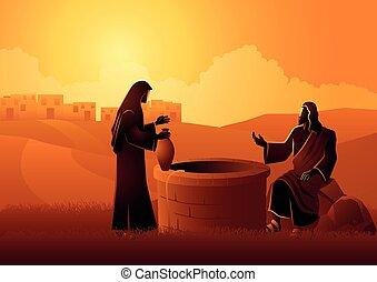 jacob?s, イエス・キリスト, 井戸, 話し, 女, samaritan