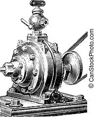Jacomy engine. Exterior view, vintage engraving.