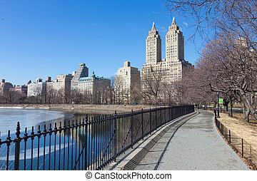 jacqueline, central, cidade, kennedy, onassis, parque, york, reservoir., novo