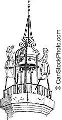 Jacquemart (bellstriker), vintage engraving.