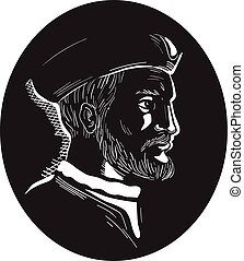 Jacques Cartier French Explorer Oval Woodcut