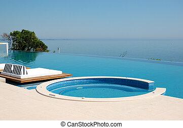 jacuzzi, ギリシャ, 水泳, 浜, pieria, プール, ホテル, 無限点, 贅沢, 現代
