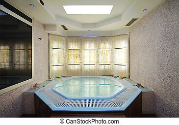Interior of a hotel jacuzzi, modern and simple style.