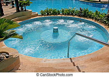 Jacuzzi whirlpool bath in a resort