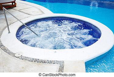 jacuzzi, y, un, piscina, en, caribe, resort.