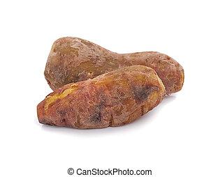 jadło, biały, kartofel, zdrowy, odizolowany, czyrak, dieta, słodki, tło