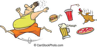 jadło, biegnie, precz, tłusty człowiek