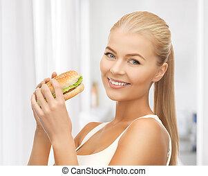 jadło, dżonka, kobieta jedzenie