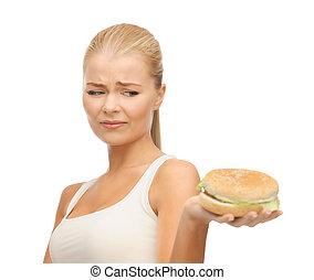 jadło, dżonka, kobieta, odrzucając