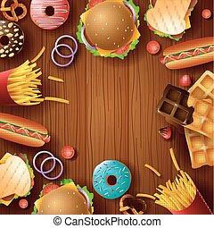 jadło, deser, ułożyć, tło, mocny