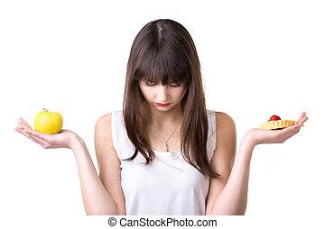 jadło, dieting, kobieta, wybór