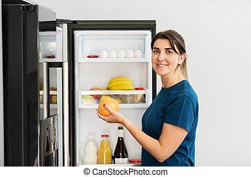 jadło, dom, wpływy, kobieta, szczęśliwy, lodówka