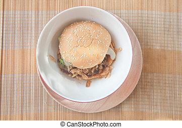 jadło, drewno, taca, hamburgery, mocny