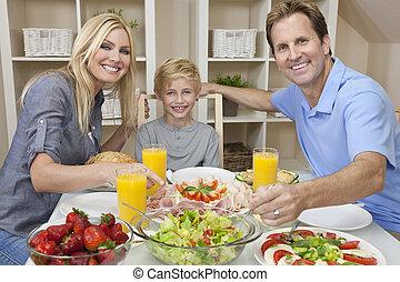 jadło, dziecko, rodzina, stołowa sałata, zdrowy, rodzice, jadalny, &