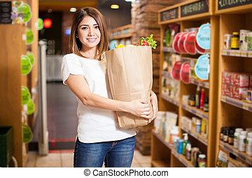 jadło, dziewczyna, kupno, supermarket, szczęśliwy