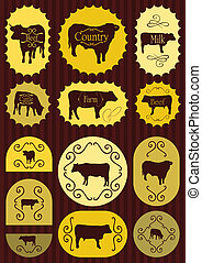 jadło, etykiety, wołowina, ilustracja, bydło