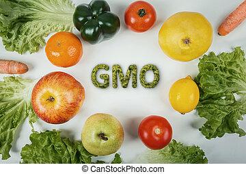 jadło, górny, żywienie, stół., organiczny, wole, gmo, ludzki, warzywa, genetycznie, biotechnologia, załatwiony, nie, owoce, manipulacja, modified., health., concept., prospekt, niebezpieczny, świeży, dna, różny