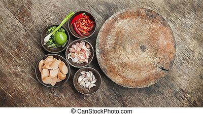 jadło, górny, surowy, drewno, stół, składnik, prospekt