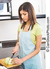 jadło, gotowanie, kobieta, indianin, ktichen