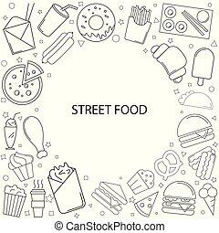 jadło, kreska, ulica, icon., tło